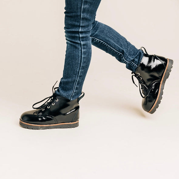 the high top boot: black patent