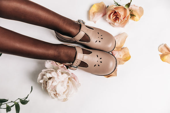 the hard soled t-strap: taupe (with perf)