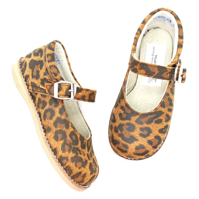 the hard soled mary jane: leopard suede