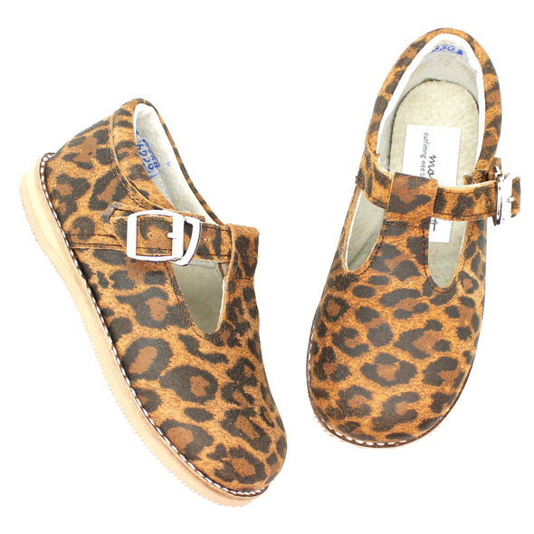 the hard soled t-strap: leopard suede