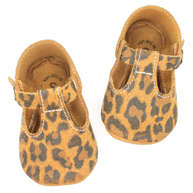 the original soft soled t-strap: leopard suede