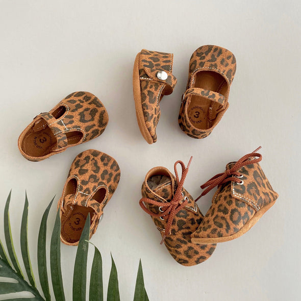 the original soft-soled t-strap: leopard suede