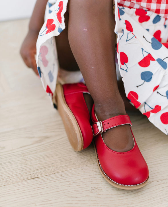 the hard soled mary jane: cherry red