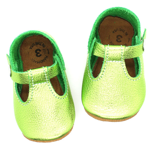 the original soft-soled t-strap: peridot/tinkerbell green