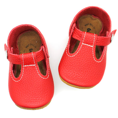 the original soft-soled t-strap: red