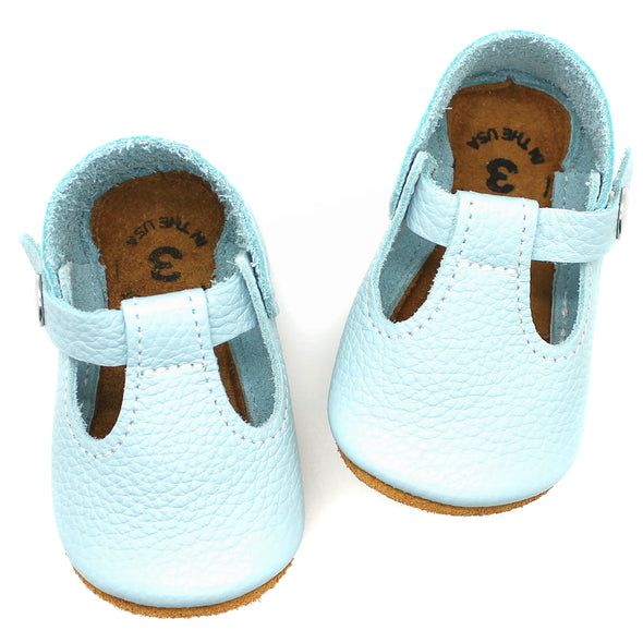 the original soft-soled t-strap: baby blue