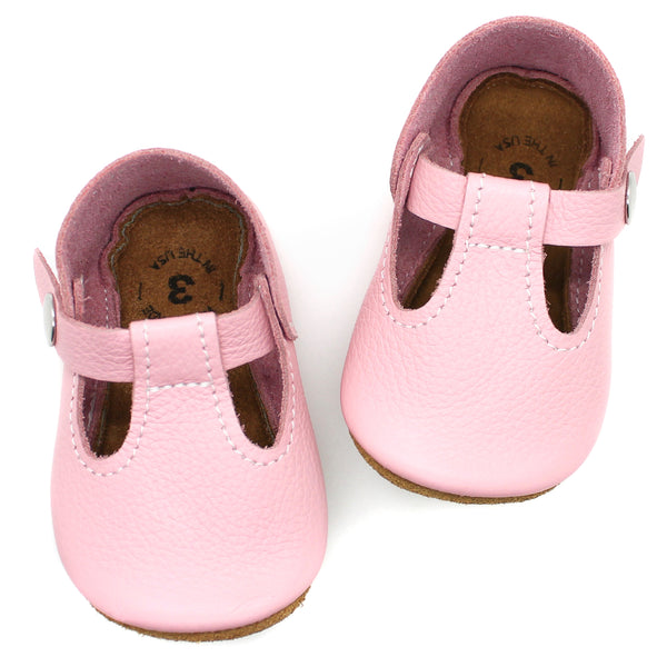 the original soft-soled t-strap: sweet pink (RTS)