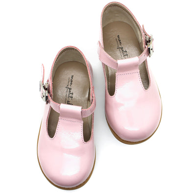the hard soled t-strap: patent blush