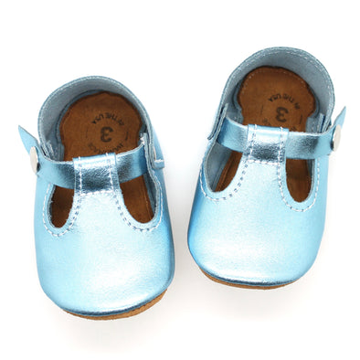 the original soft-soled t-strap: aquamarine/ice (RTS)