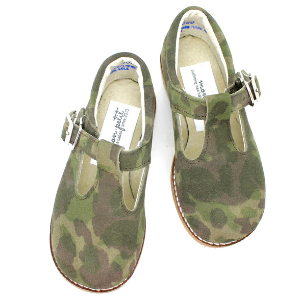 the hard soled t-strap: camouflage