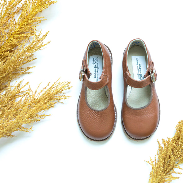 the hard soled mary jane: cognac