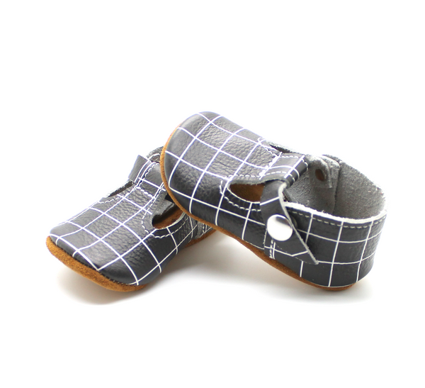 the original soft-soled t-strap: black grid (RTS)
