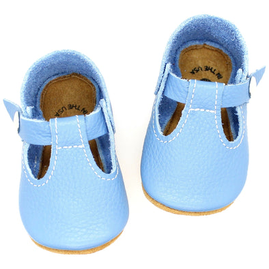 the original soft-soled t-strap: backyard blue (RTS)