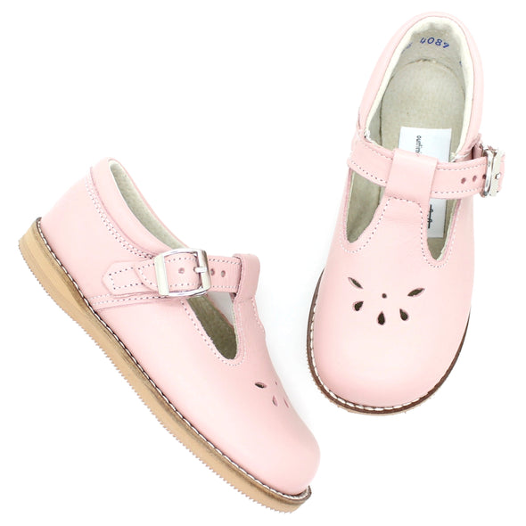 the hard soled t-strap: blush (with perf)