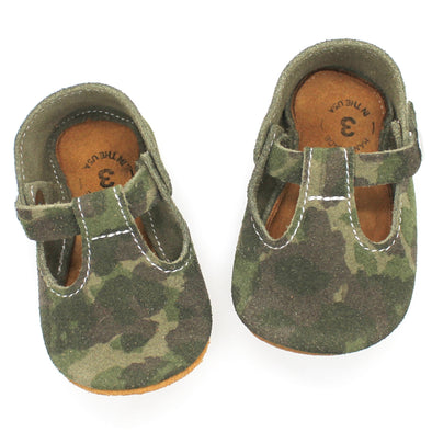 the original soft-soled t-strap: suede camouflage (RTS)
