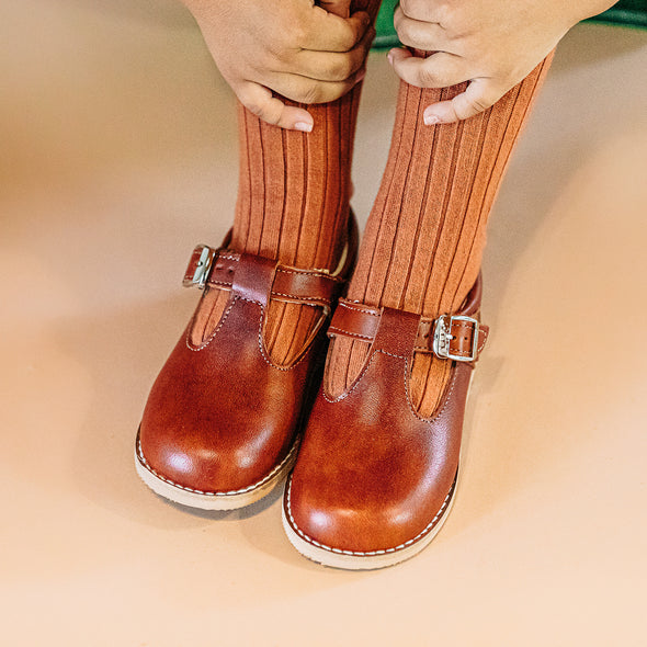 the hard soled t-strap: chestnut