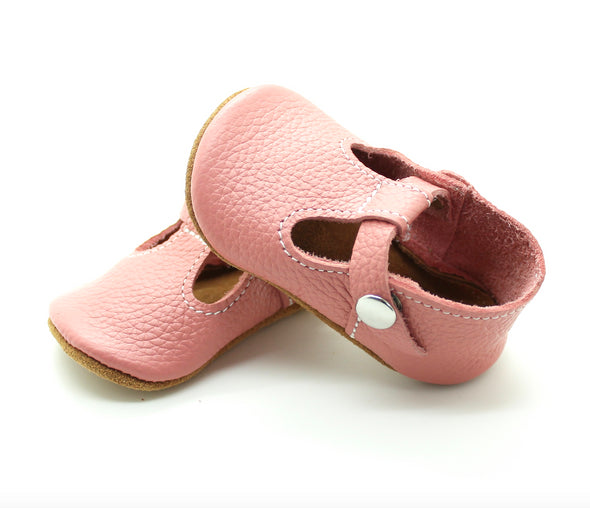 the original soft-soled t-strap: coral (RTS)