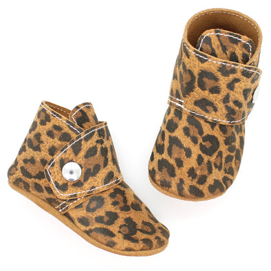 the snap boot: leopard suede