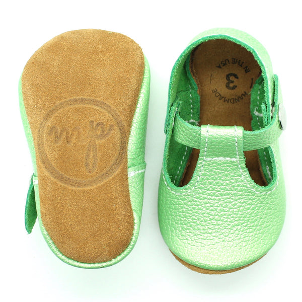 the original soft-soled t-strap: lucky lime (RTS)