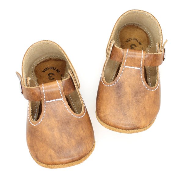 the original soft-soled t-strap: maple