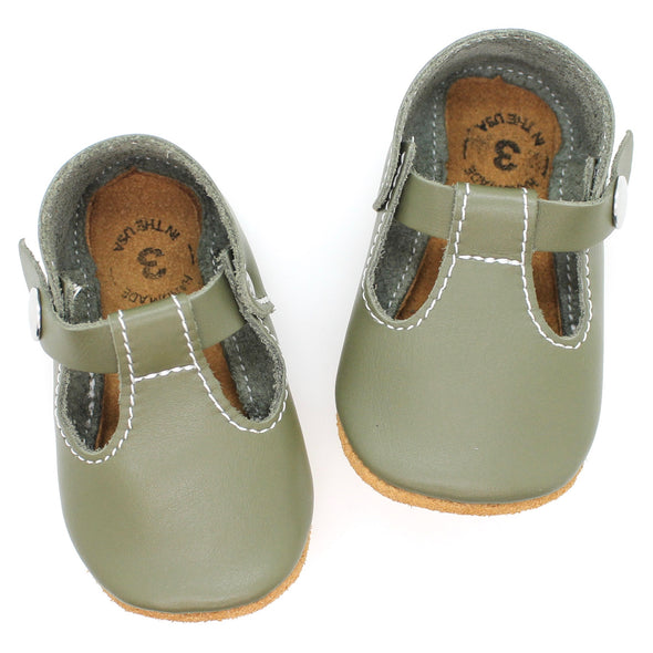 the original soft-soled t-strap: military green