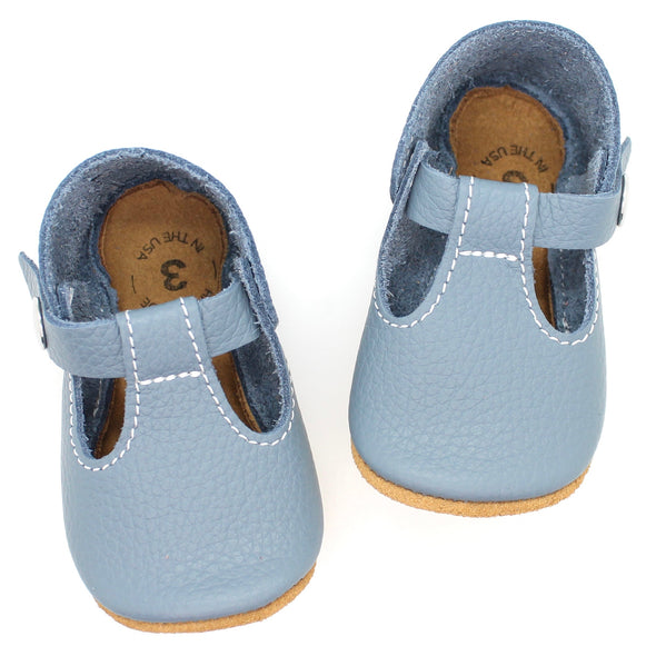 the original soft-soled t-strap: mountain blue