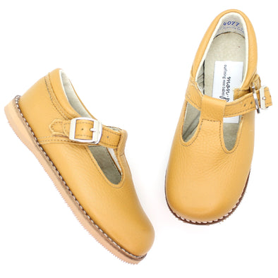 the hard soled t-strap: mustard