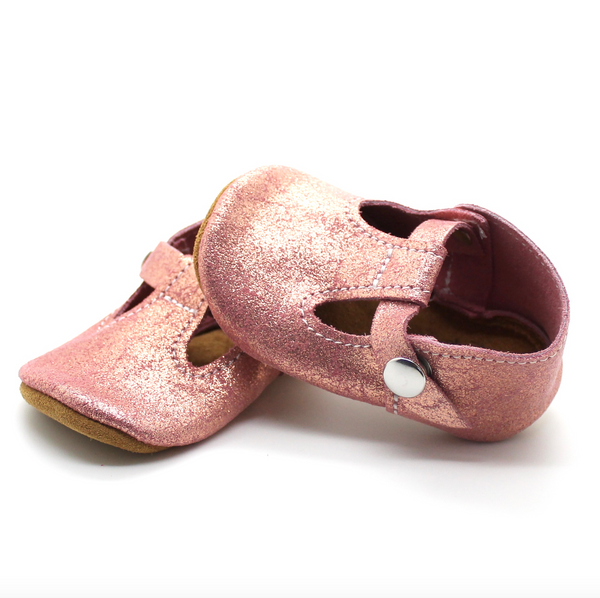 the original soft-soled t-strap: pink champagne (RTS)