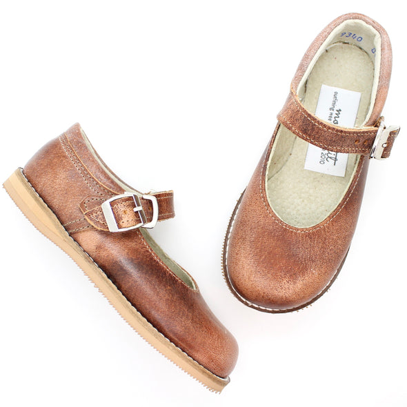 the hard soled mary jane: weathered brown