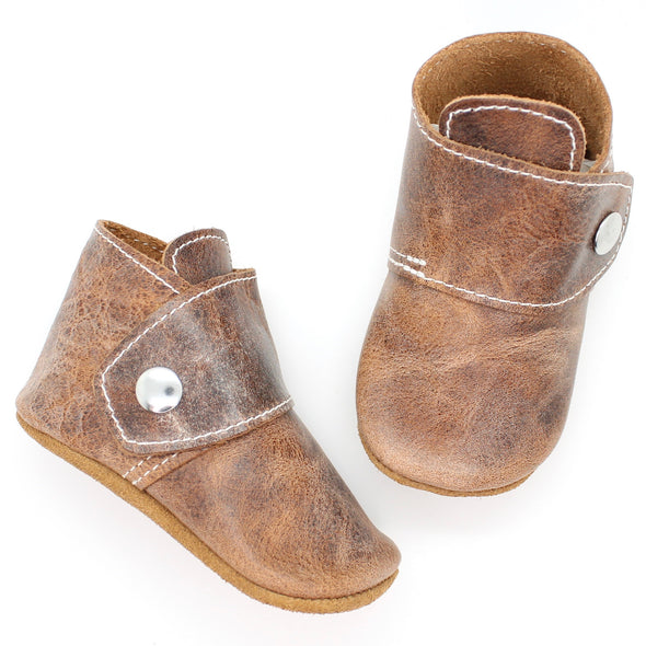 the snap boot: weathered brown