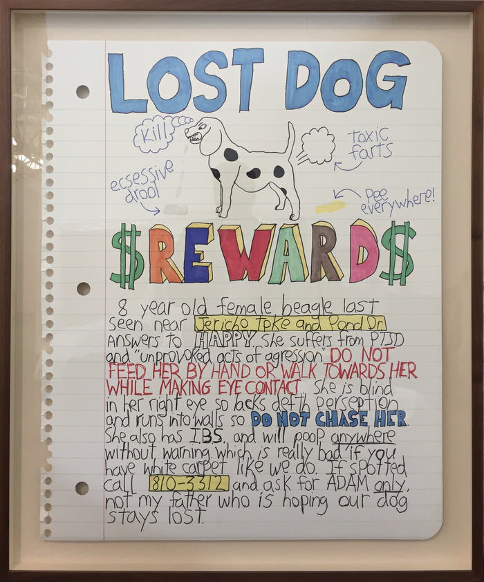 Lost Dog Reward print