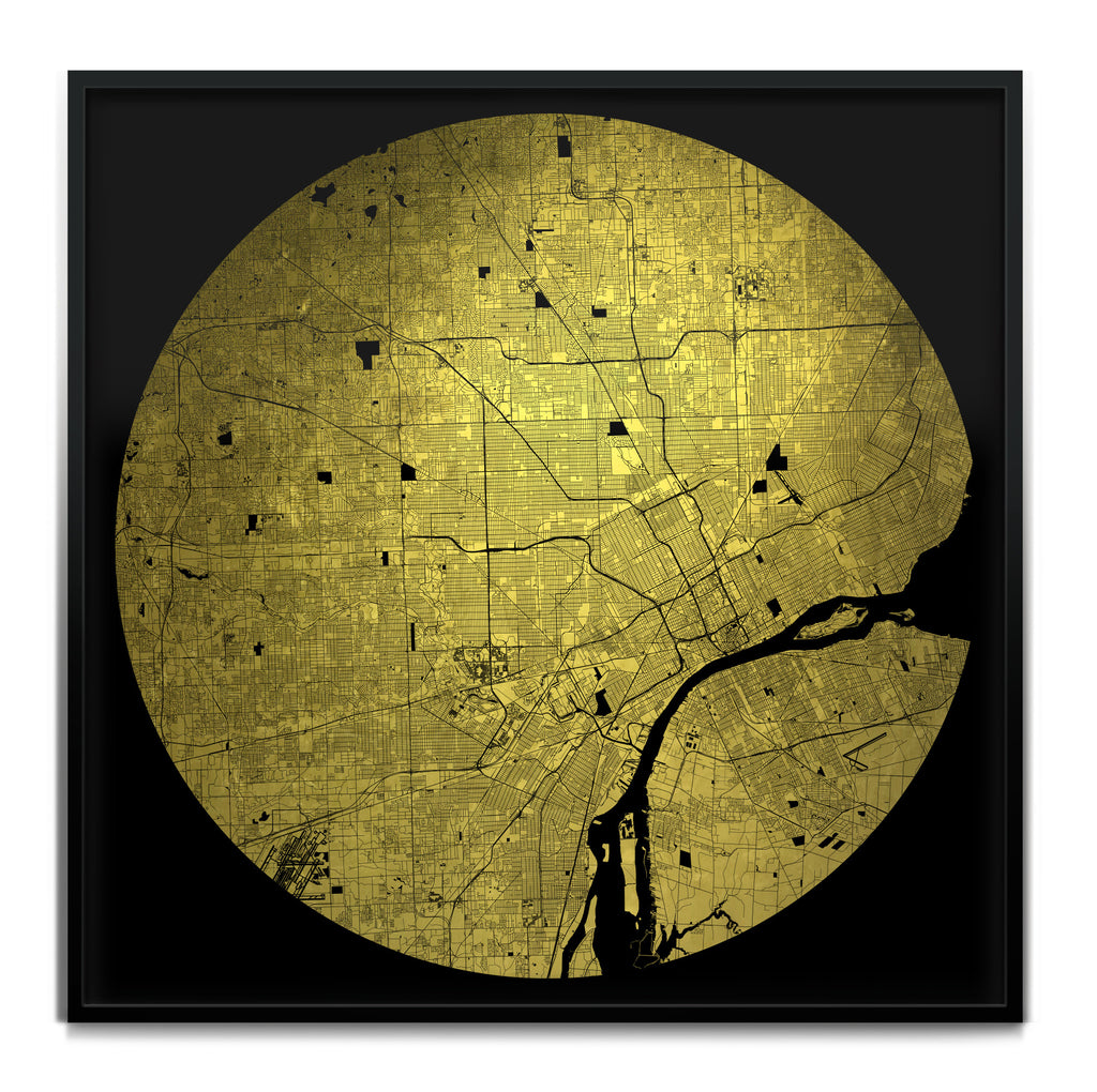 Mappa Mundi Detroit (Downtown) (24 Karat Gold)