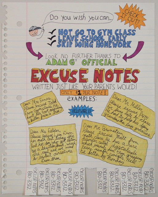 Excuse Notes print
