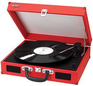 Jensen JTA-410 Turntable with Speakers (Red) (Belt Drive, Built-In Speakers, Red, RCA Outputs, Usb Conversion)