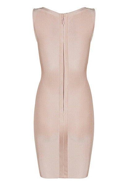 Beige V-Neck Bandage Lace Up Dress
