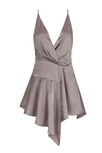 Gray Satin Wrap Dress