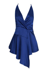 Royal Blue Satin Wrap Dress
