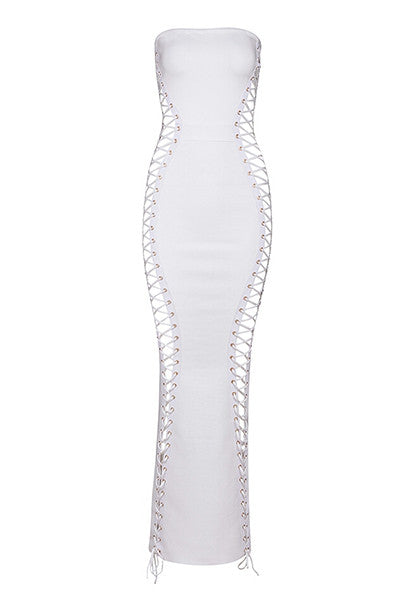 White  Bandage Strapless Lace Up Dress