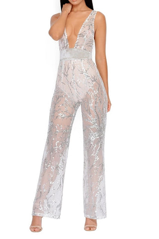 White Sheer Sequin Jumpsuit