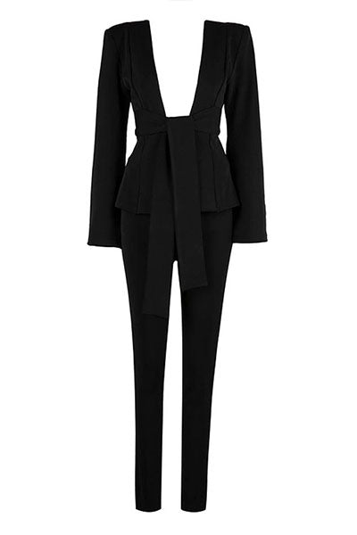 Black Split Sleeve Pant Suit