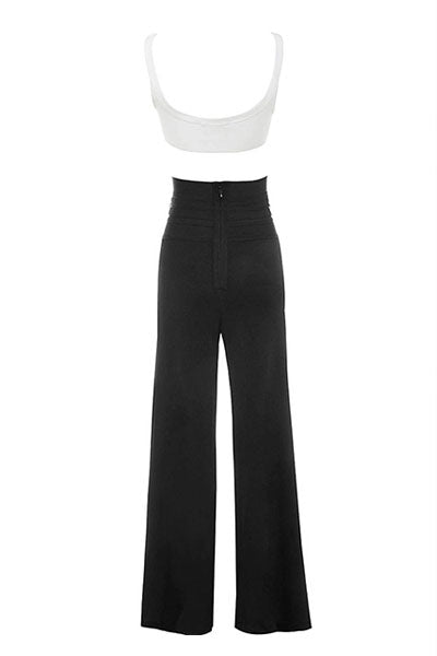 Black White High Waist Pant Set