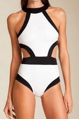 White Black Halter Swimsuit