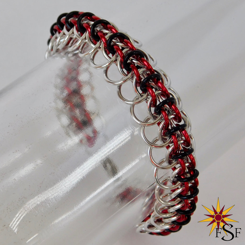 Kitsune Bracelet - Red and Silver
