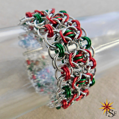 Winter Holiday Chainmail Cuff Bracelet