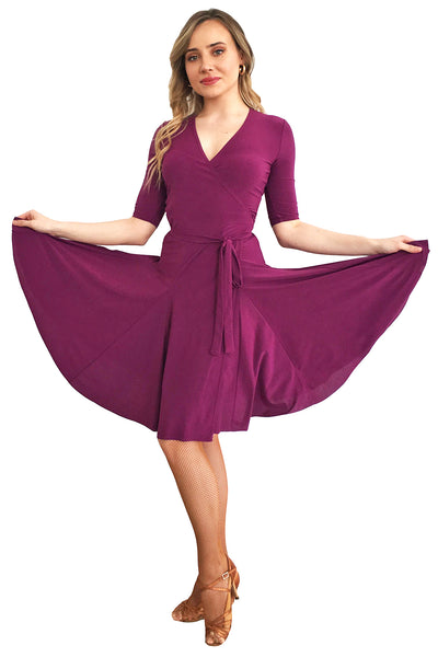 Purple Wrap Latin Dress - DanceLuxe Boutique
