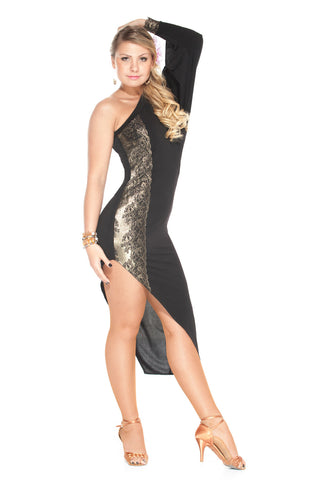 """Golden Diamonds"" Latin Ballroom Dance Dress - DanceLuxe Boutique"