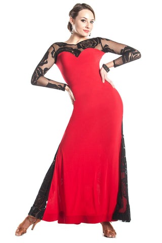"""Tango Rouge"" Ballroom Dance Dress - DanceLuxe Boutique"