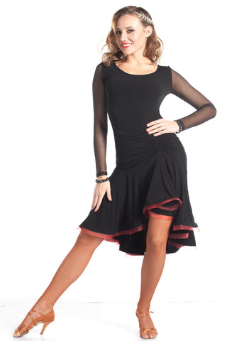 """Joanna Net Sleeve"" Latin Dance Dress - DanceLuxe Boutique"