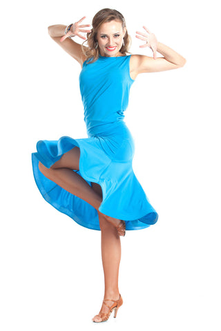 """Lulu Blue"" Dance Top and Skirt Set - DanceLuxe Boutique"