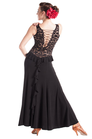 """Sexy Black Lace"" Ballroom Latin Dance Dress"